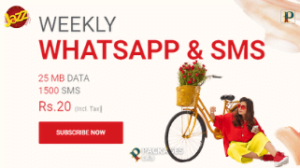 Jazz Weekly SMS & WhatsApp Package – Rs. 20/-