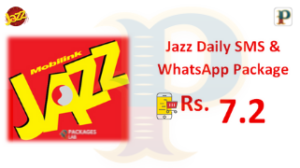Jazz Daily SMS & WhatsApp Package – 24 Hours – Rs. 7.2/-