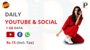 Jazz Daily YouTube & Social Bundle 1 GB – Rs 15/-